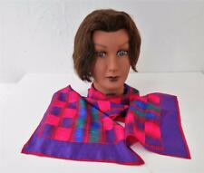 "Vintage Evan Picone Red & Purple Geometric Design Silk 52"" Rectangular Scarf"