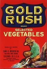 CRATE LABEL VINTAGE PROSPECTOR MINER GOLD RUSH MINING 1940S PANNING ORIGINAL