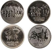 B-D-M Rusia Russia Set 4 x 25 Rubles 2014 Sochi XXII Olympic Winter Games SC UNC