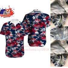 New England Patriots Button Down Shirt Men's Short Sleeve Hawaiian Shirts Tops