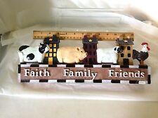 Primitive Faith Family Friends Plaque 3D Barnyard Shelf Accent Wall Art Decor