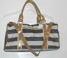 Icing Bling Sequin & Glitter Stripe Duffle Bag Handbag Tote Multi Color NWT