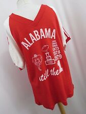 Alabama National Champs Vintage T-Shirt Red 1961, 64, 65, 73, 78, 79 Size Large