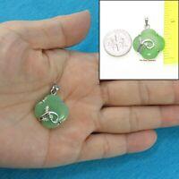 Simple & Beautiful Green Jade & Cubic Zirconia Sterling Silver 925 Pendant TPJ