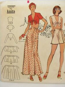 Vintage Vogue Sewing Pattern Wrap Skirt Midriff Tied Top Very Easy 8602 Size 8