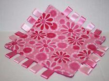"Handmade Ribbon Tags Baby Security Blanket 11"" Pink DAISY FLOWER MINKY POLKA DOT"