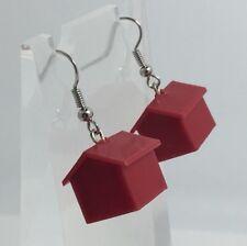 Orecchini a forma di CASA ROSSO Charms in plastica Kitch Scuro Argento Ganci Monopoly G315