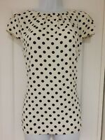 Womens Dorothy Perkins Ivory Black Polka Dot Lace Back Cap Sleeves Blouse Top 14