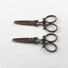 Retro Red Copper Alloy Scissors Shape Jewelry Charms Pendants Crafts 10pcs 51596
