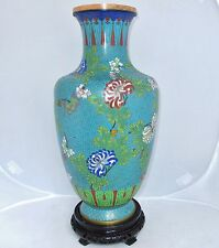 "BIG 15.5"" Antique or Vintage Chinese Blue Cloisonne Vase with Flowers & Stand"