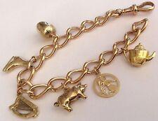 Impresionante señoras Pesado Antiguo Oro 9ct calidad extraordinaria pulsera con dijes & encantos