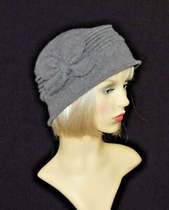 Ladies Vintage Style Wool Cloche Hat with Bow. BNWT. Available in 4 Colours.