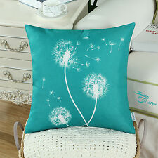 1pcs Teal Cushion Covers Pillows Shell Modern Dandelion Print Home Decor 45x45cm