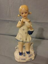 Vintage Porcelain Blue And White Figurine Girl With Bird Made In Korea