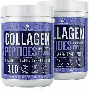 Collagen Powder Premium Peptides Hydrolyzed Anti-Aging Unflavored 1LB 2 Pack