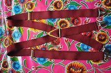 Vintage burgundy braces suspenders with clip fastening