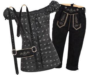 Trachtenset Damen Trachten Lederhose schwarz  mit Trachtenbluse schwarz Herz