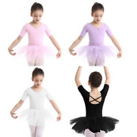 UK Kids Girls Ballet Costume Tutu Leotard Dance Gymnastic Dress Ballerina Skirt