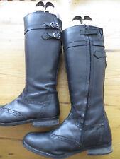 ladies black leather size 4 knee boots jones bootmaker used (113)