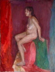 """Russischer Realist Expressionist Öl Leinwand """"Frauenakt"""" 80x60 cm"""
