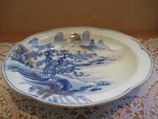 Japanese/Chinese Blue/Gold/White Hand Painted Footed Bowl/Dish Antique