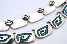 """Motif Turquoise Inlay Necklace. 92g,16"""" Taxco Mexican 925 Sterling Silver Tribal"""