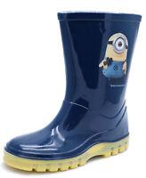 BOYS KIDS CHILDRENS NAVY MINION SPLASH WELLIE RAIN WELLINGTON BOOTS UK 6-12