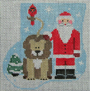 HP Needlepoint 18ct KATHY SCHENKEL Christmas Mini Sock:Santa, Lion,Cardinal-HV19