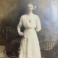 Antique Postcard Portrait of Girl by Settee in White Dress RPPC AZO 1904-1918