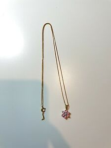 yellow gold pink sapphire diamond cluster necklace, 9ct yello gold