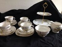 COLCLOUGH VINTAGE BONE CHINA GREY YELLOW TEA SET TRIOS CAKE STAND MILK JUG BOWL