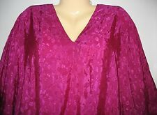 WINLAR - ONE SIZE - WINE W EMBROIDERED FLORAL DESIGN - PULLOVER CAFTAN