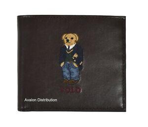 Polo Ralph Lauren Brown Leather Collegiate Preppy Bear Bifold Wallet New