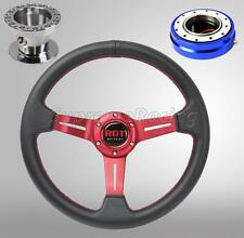 Red Steering Wheel Kit w/Quick Release Blue For Hyundai Accent Genesis Tiburon