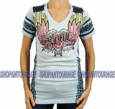 Sinful by Affliction Women's Short Sleeve Blue Size XL