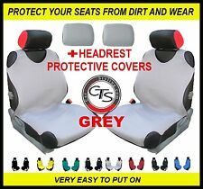 2x CAR SEAT COVER T-SHIRT VEST FRONT + HEADREST GREY VW Passat B7