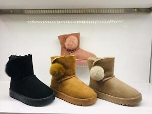 Boys Girls Winter Warm Ankle Boots Pom Pom Fur Toddler Shoes Slip On Size