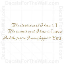I Love You Wall Decal Vinyl Art Sticker Quote Decor Inspirational Saying L68