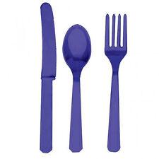 24 x Plastica Viola Set Posate Coltelli Forchette Cucchiaio Lavanda USA e Getta