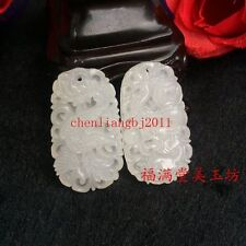 2pc Beautiful Exquisite Chinese White Natural Jade Pendant Couple Dragon Phoenix