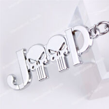 Silver  Punisher Metal Keychain Fob Ring 3D Key Chain for  All
