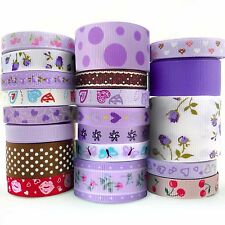 "20x1 Yards Assorted Grosgrain Ribbon Lots 20 Styles 3/8""--1.5"" Purple Love Theme"