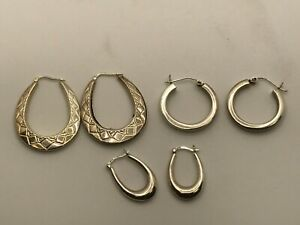 Collection of 925 Sterling Silver Earrings Leverback Hoops & Creole Style 12.58g