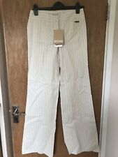 John Galliano Striped Trouser Size 8 W26 Cream Pinstripe Brand New With Tags