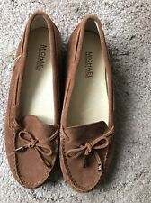 NEW MICHAEL Michael Kors Woman's Suede Leather Loafer Flats Shoes Brown sz 8