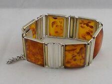 *RAR* Massives Armband Fischland Bernstein in 835 Silber vergoldet