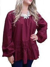Ladies UK Plus Size 20 - 32 Cotton Long Tunic Tops in Black Brown Red Lagenlook
