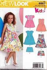 NEW LOOK SEWING PATTERN 6884 GIRLS 3-8 DRESS W/ COLLAR & SLEEVE OPTIONS & SHORTS