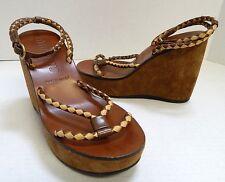 Miu Miu 35 4.5M Brown Beige Braided Leather Platform Wedge Heels Italy