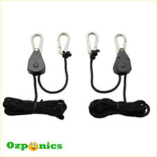 HYDROPONICS GROW LIGHT HEAVY DUTY LIGHTING SHADE HANGER ROPE RATCHET - 2 PAIRS